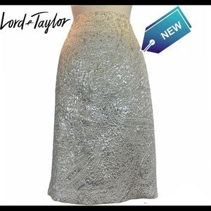 Lord & Taylor NWT silver shimmering skirt size 10
